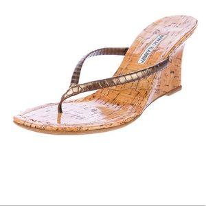 MANOLO BLAHNIK Wedge cork sandals size 9.5